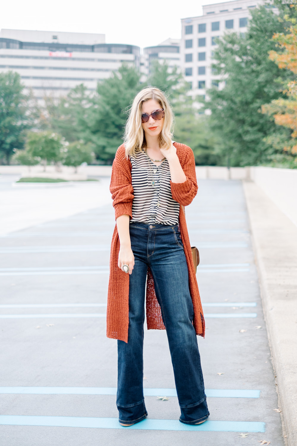 On Julien:  Bobeau duster cardigan  (more  Bobeau from Nordstrom ),  Free People jeans , vintage top ( similar ),  Free People necklace  c/o.  J.Crew mules .  Samantha Wills  ring. H&M bag.  Claire Ashley for Makeup Meltdown lipstick  in SIREN.