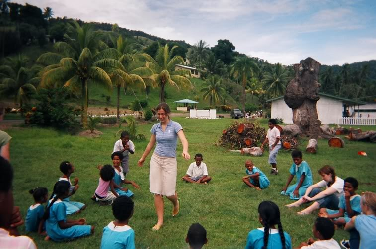 "In Fiji playing ""Awana Talkie Talkie"" (a very duck-duck-goose game) during one of our breaks from building a church there"