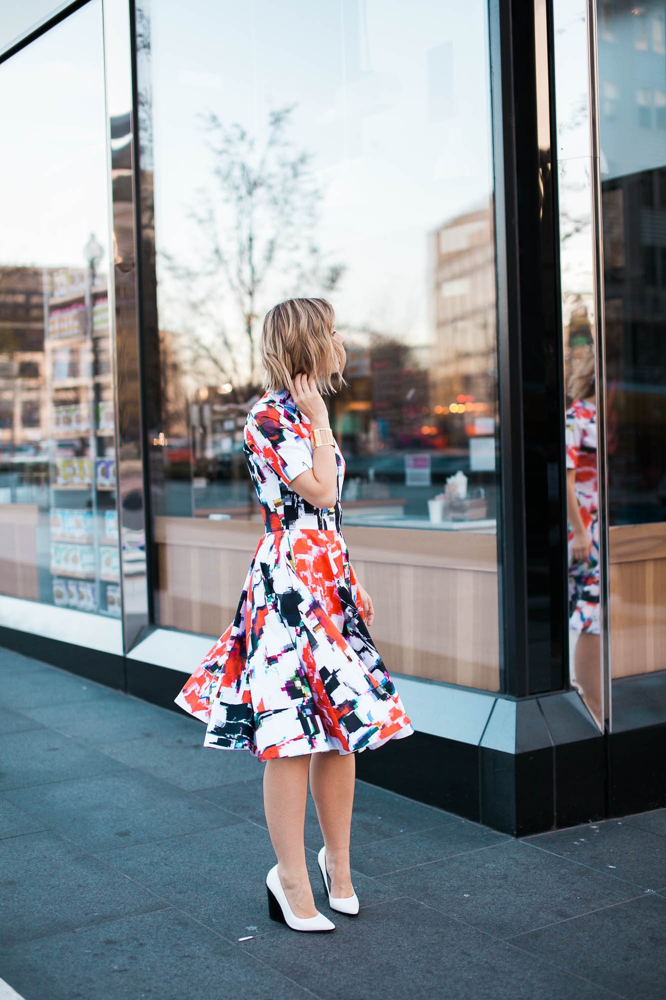 Statement dress + white pumps + chunky jewelry  (see full outfit post here!)