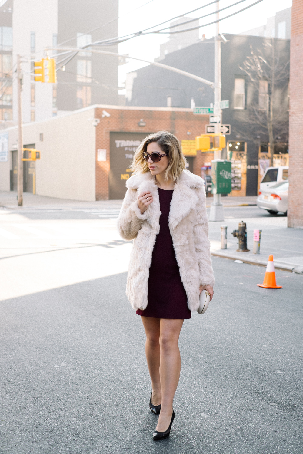 Burgundy Dress, Faux Fur Coat + Pumps  (see full outfit post here!)