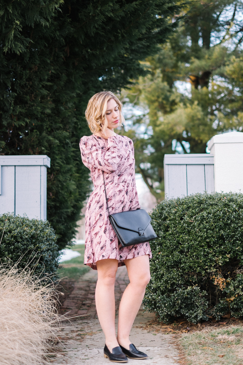 Blush dress + loafers + oversized clutch  (see full outfit post here!)
