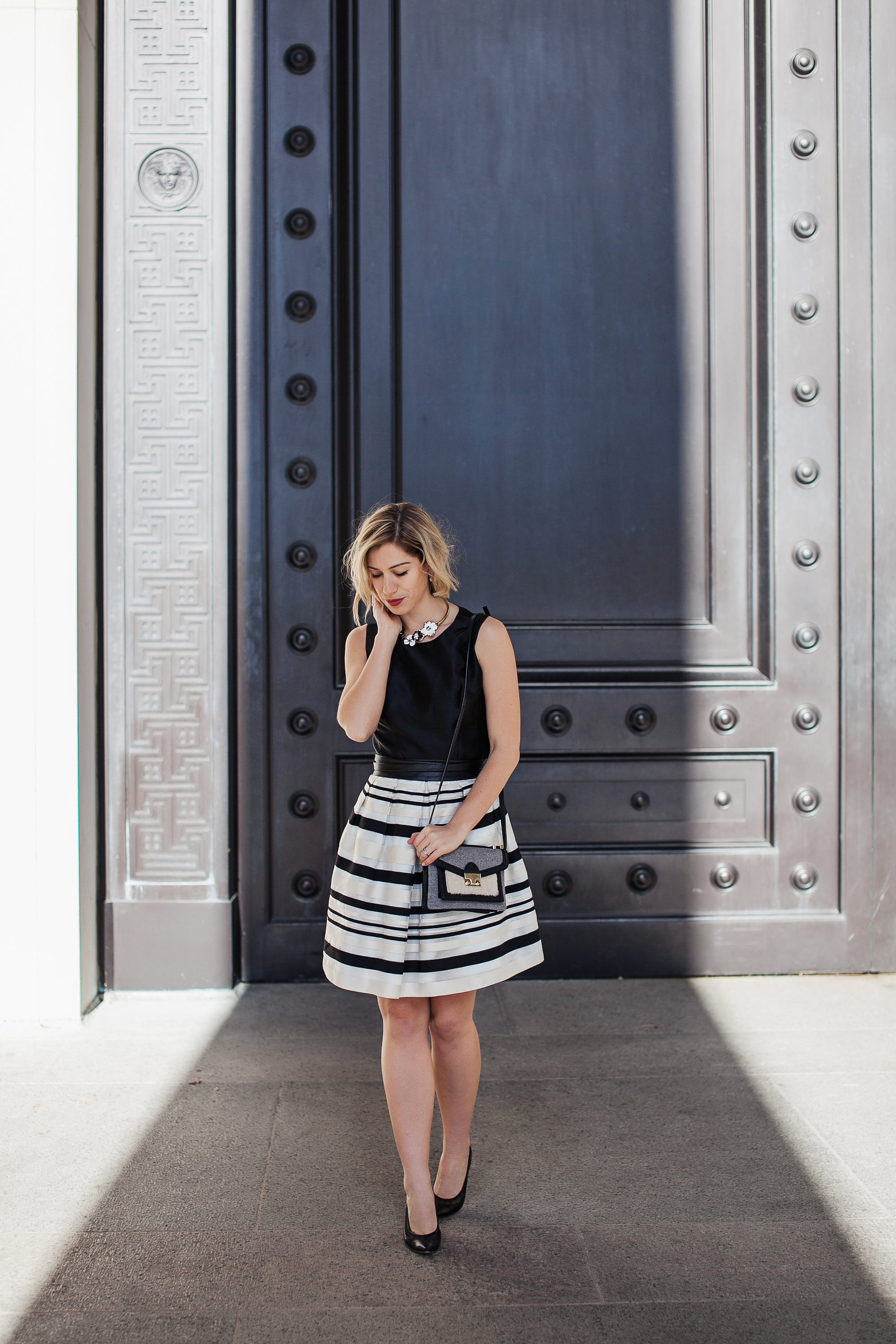 Black + white dress + leather belt + black pumps  (see full outfit post here!)
