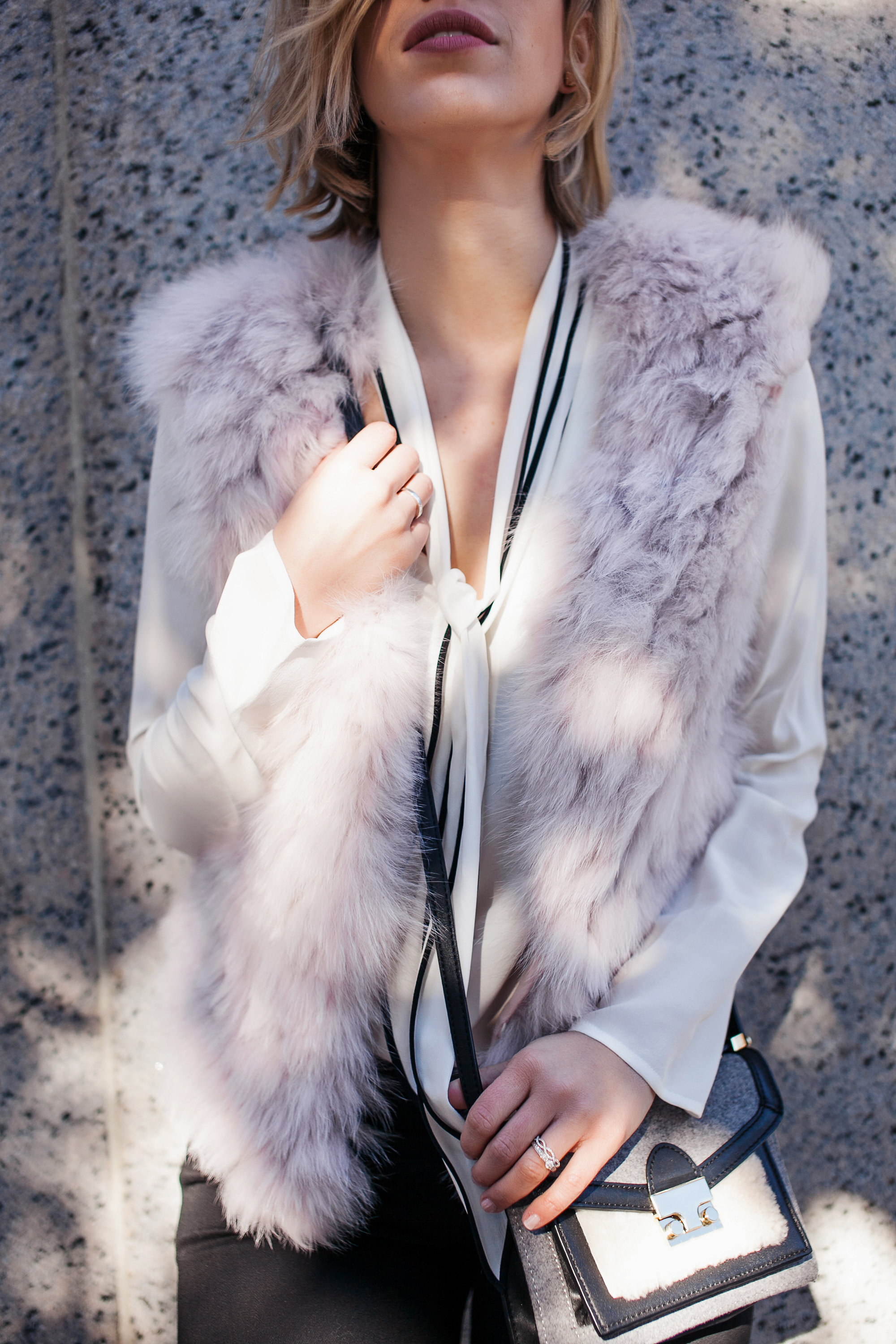 Pink faux fur vest + silk blouse + jeans (full outfit coming soon!)