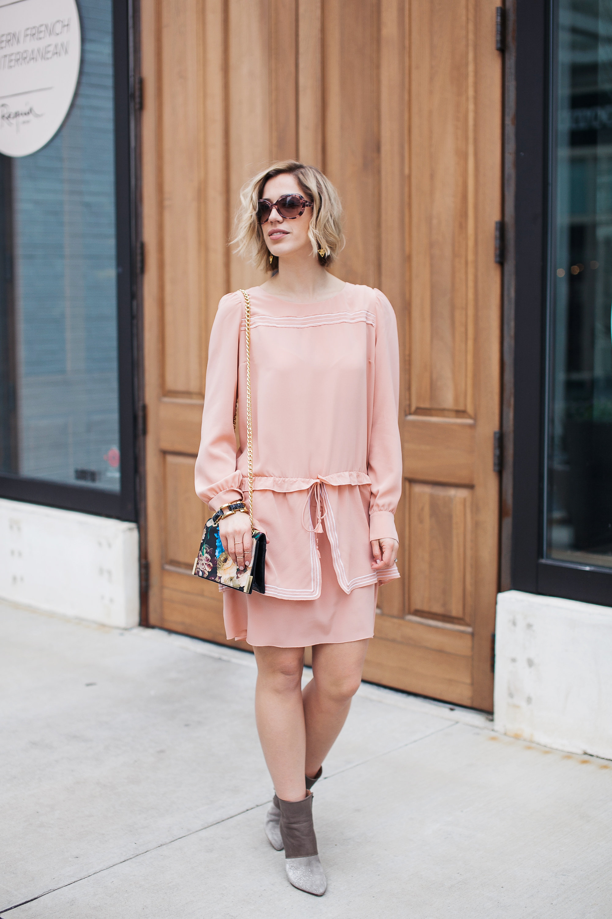 Blush dress + floral clutch + grey booties  (see full outfit post here!)