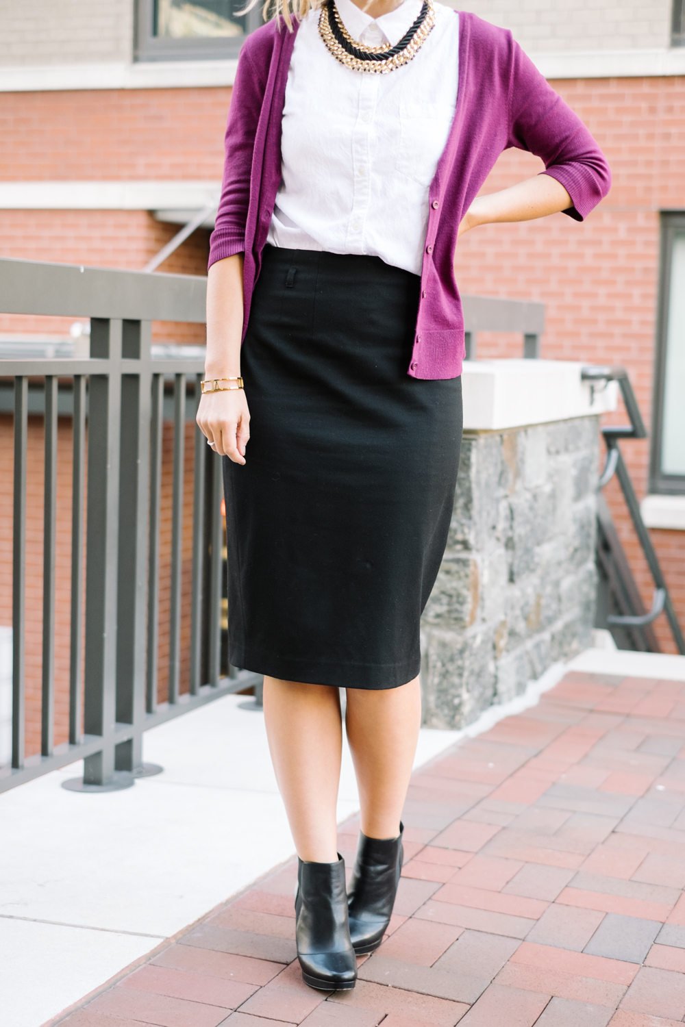 Midi skirt + bold cardigan + boots + statement necklace  (see full outfit post here!)