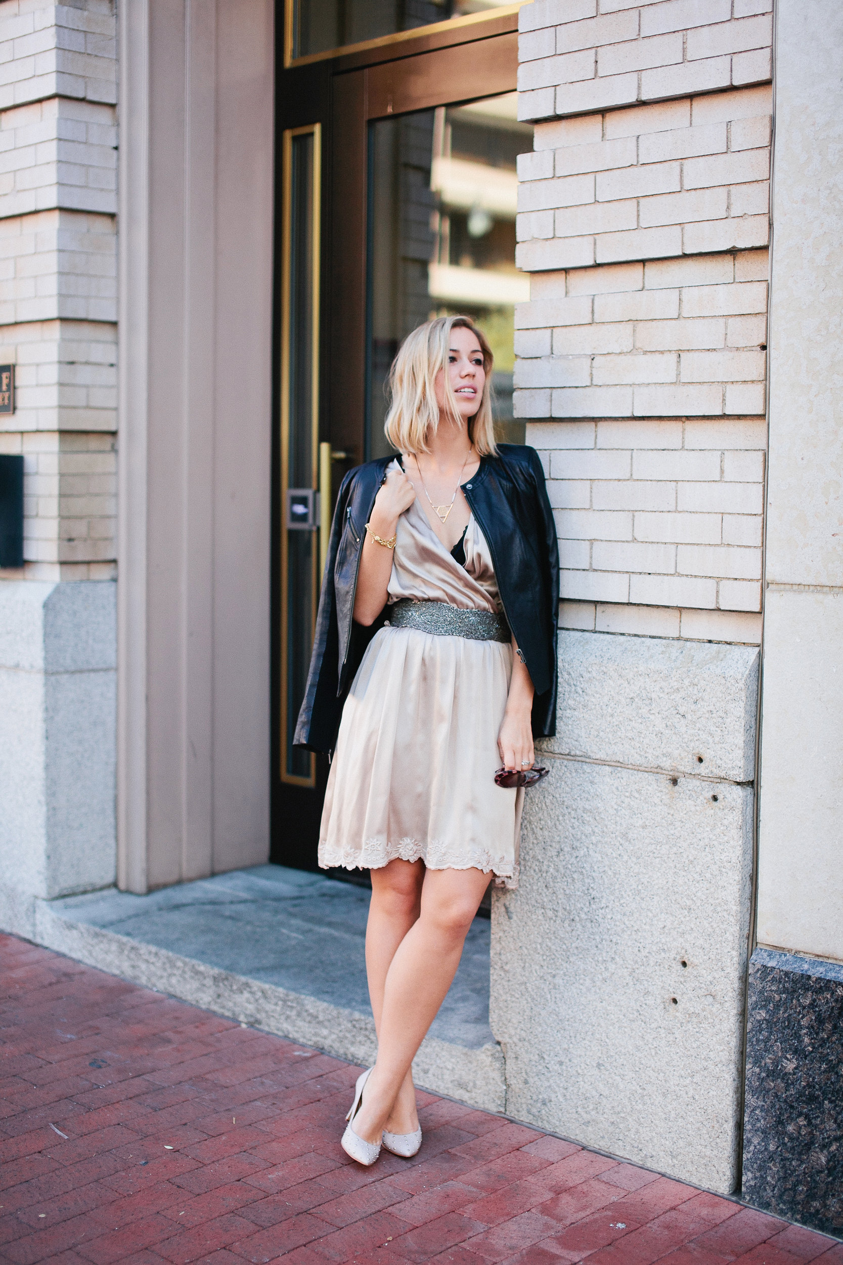 Slip dress + leather jacket + studded pumps  (see full outfit post here!)