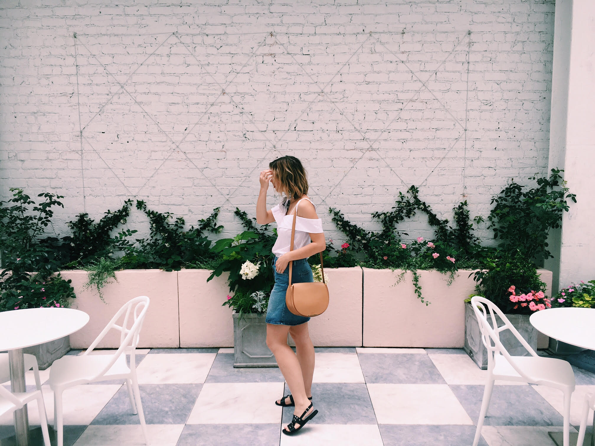Wearing  Cuyana bag,  Intermix top (sold out), Just Female skirt from  Lynn Louisa  and  James Hock sandals