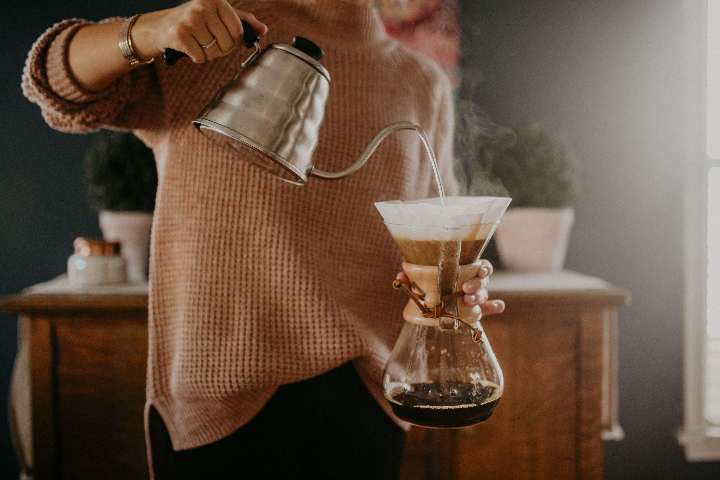 Shop the  pour-over kettle  and  Chemex coffeemaker