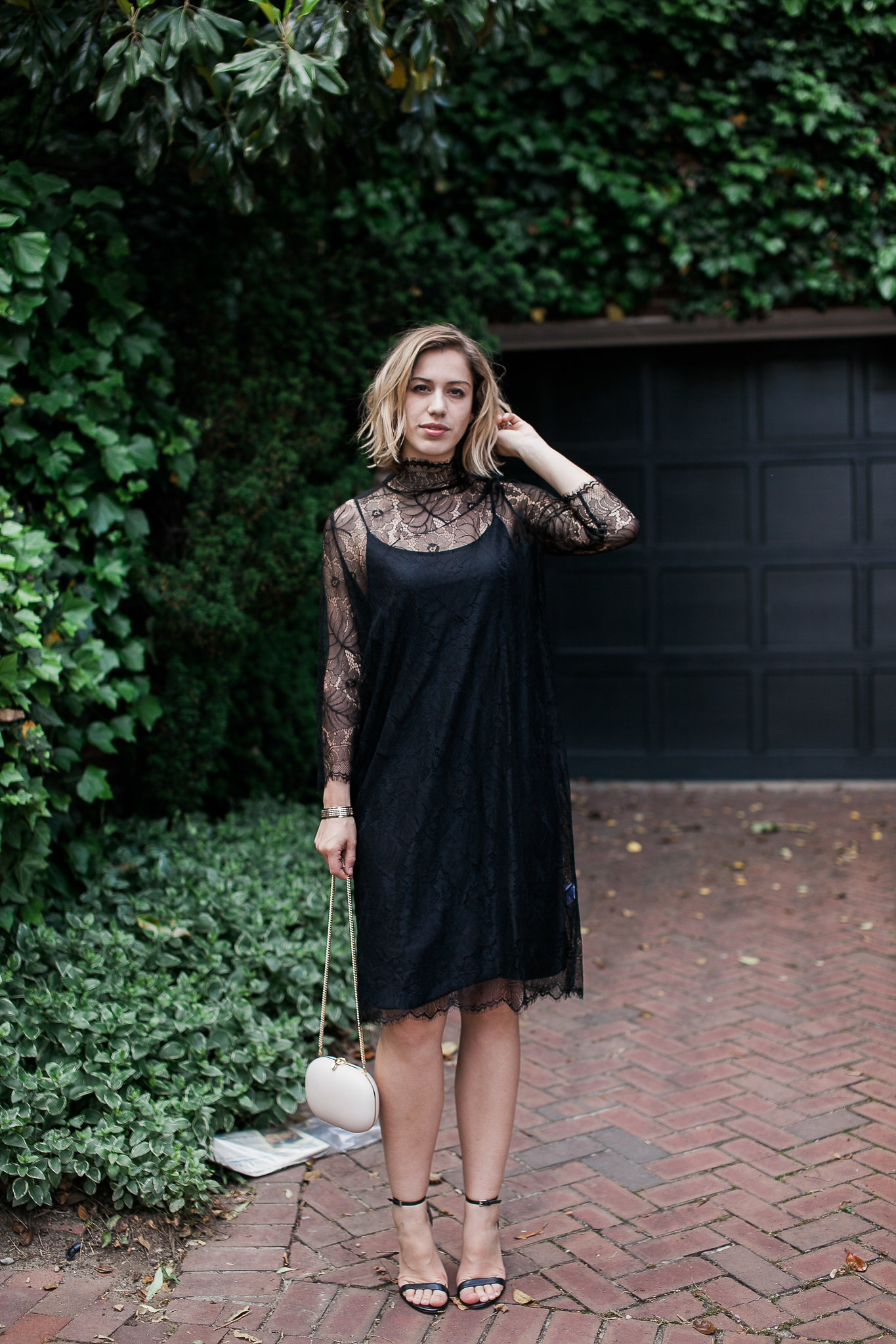 See full blog post with this black Ganni lace dress