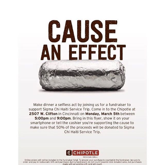 Do you eat food? Perfect, grab dinner at Chipotle on West Clifton tonight between 5 and 9 o'clock and 50% of the proceeds will be donated to support our service trip this summer!