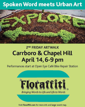 Floraffiti® chats with Aaron Keck at WCHL, The Hill - Aaron gets all the details about the upcoming event where community members perform throughout Carrboro and Chapel Hill.