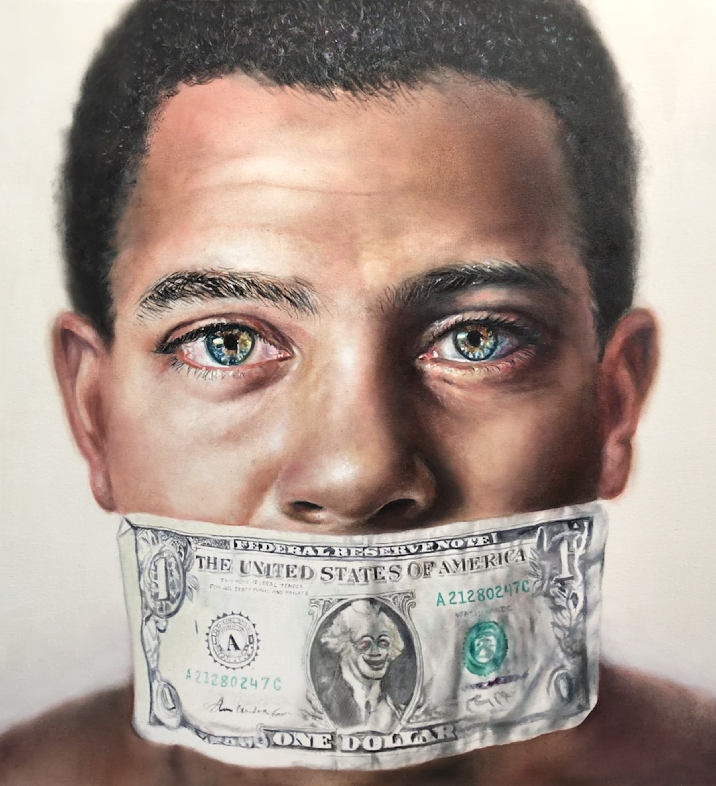 Money Talks, Oil on canvas 52x48in Price Upon Application