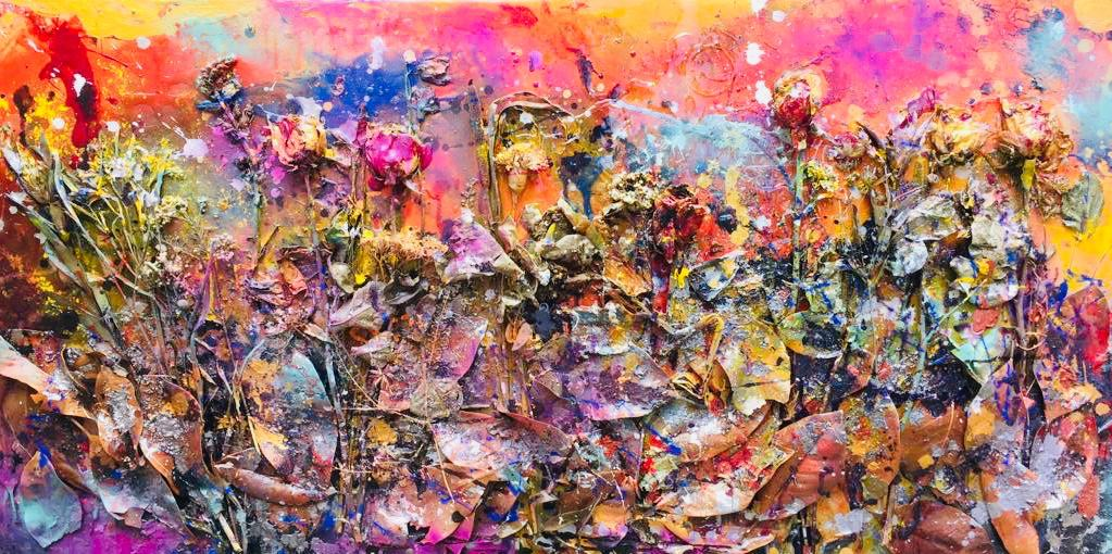 Flower Scene, 122x60cm (4x2ft) Mixed medium on wood. Found Materials, lead, epoxy resin, acrylic, oils and flowers
