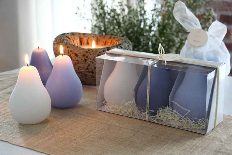 23806 - Pear Candle Set in Ocean - $22