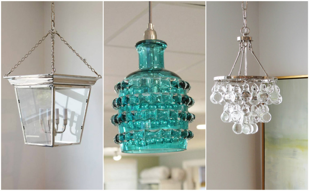 At Welch Company:  These hanging light fixtures range from classic New England to coastal with a vintage vibe to cool and contemporary, but all have one thing in common...glass.