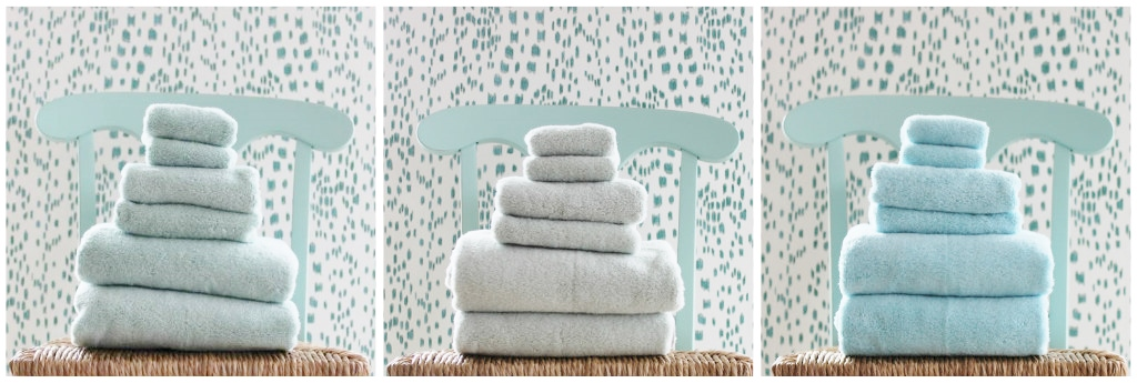 The softest towels in the beachiest colors from Matouk will dress up any bath.