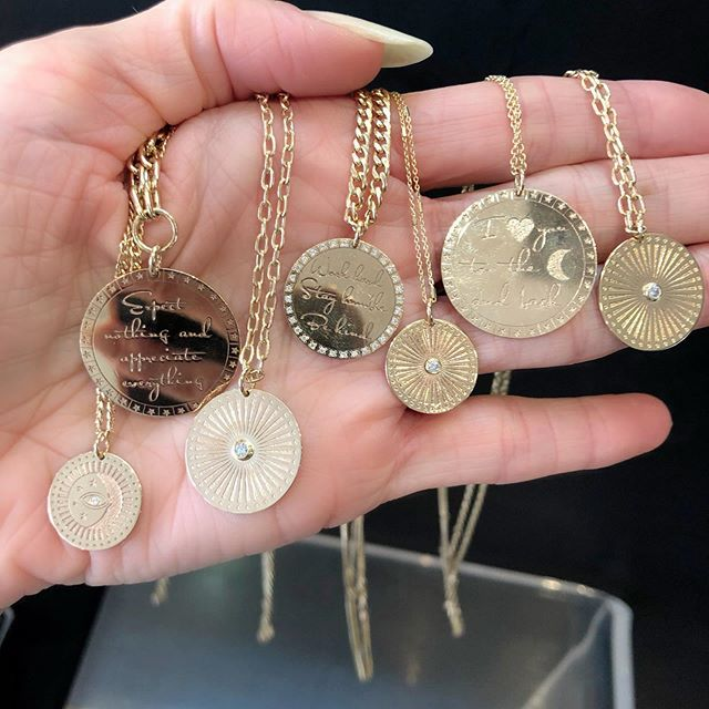#zoechicco medallions and mantras are our latest favorites. And starting at $595, can you blame us? Perfect for everyday or holiday gifts 💖 We are uploading them to the site but they are in the store NOW. DM or email us for pricing or stop by the store to try them on at #jaimiegellerjewelry