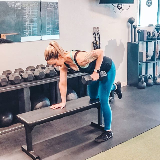"""Yoga pose of the day: Single arm dumbbell bent over row. ⠀ But... wait a second... That's not yoga, right!? ⠀ Cuz I'm holding a weight! ⠀ And the name's not in Sanskrit. ⠀ And I'm wearing shoes. ⠀ And I'm in a gym?! 🤯 ⠀ ...Well, actually, this practice is about as yogic as it gets. ⠀ Here's why: ⠀ It's serving the purpose preparing me for meditation and self-reflection, because it's getting me out of debilitating pain. ⠀ It's connecting me to my body in a loving & challenging way. ⠀ It's helping me build tapas and tend to my mental/emotional health. ⠀ And as I move, I'm breathing with purpose. ⠀ I'm also checking my ego to ensure I don't stray from moving mindfully. ⠀ And I'm constantly listening to my body's needs while pushing myself to my edge, liberating myself from mental chatter. ⠀ Heck, if we want to quote Iyengar here, he says the practice of asanas """"brings steadiness, health, and lightness of limb. A steady and pleasant posture produces mental equilibrium and prevents fickleness of mind."""" ⠀ What luck! ⠀ That's the EXACT feeling I have both during and after a session of mobility and strength training. ⠀ It's also the exact OPPOSITE feeling I'd have if I were to spend that same amount of time in a vinyasa class, as that style of movement simply doesn't work in my physiological favor. ⠀ Remember firstly that yoga is so much more than the movements we do. ⠀ And also, there are no rules for what movements we HAVE to do in order to achieve the desired outcomes of greater health, wellbeing, and heightened connection to ourselves and to divinity (if that's your aim). ⠀ So enjoy your asana practice, whatever it may be. And as you allow it to change with the seasons of your life, take PRIDE in how you care for your body. ⠀ And finally, don't everrrrr let anyone convince you you're less yogic because your movement practice doesn't look like theirs. ♥️ ⠀ Love y'all. Happy moving, today and always. ⠀ ⠀ ⠀ ⠀ #yogapractice #justmove #mobility #jointstability #jointhealth #"""