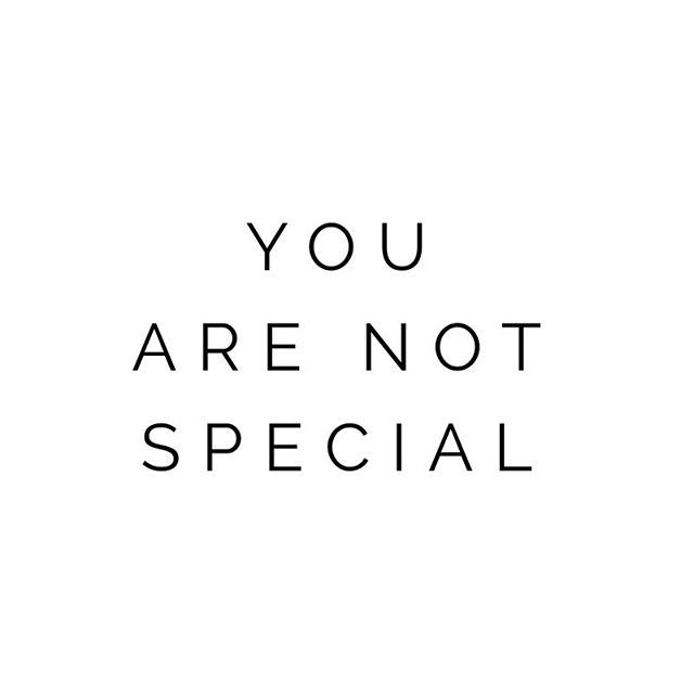 """""""You are not special."""" ⠀ When hearing this, what feelings does it evoke in you? Hurt? Insult? Defensiveness? ⠀ Could you perhaps feel pure and utter *relief* instead? ⠀ If that confuses you, let me elaborate: ⠀ Do you sometimes feel like you're somehow different from other people? Isolated? ⠀ Maybe you have an idea for a hobby or blooming passion, but you're afraid to share it with the world because you fear rejection or failure. ⠀ You want to belong. You want validation. You want to be accepted. ⠀ You're afraid of feeling shamed. ⠀ Well... guess what? ⠀ Literally every single person on this planet feels ALL of those things at various points in their lives. ⠀ When I say """"You are not special,"""" what I mean is this: ⠀ Your feelings are no different from ours. ⠀ You are not alone. ⠀ You are never the only one who fears rejection, betrayal, isolation, failure, or shame. ⠀ Those thoughts you have that hold you back from pursuing what it is you truly WANT in your life? ⠀ We all have those thoughts. ⠀ Every. Single. One of us. ⠀ So when you feel overwhelmed by self-doubt, and when that voice pipes up that tells you no one understands you, or that your ideas are stupid, or that your passion isn't worth your time because no one else will 'get it'... ⠀ Remember that we ALL have those thoughts. And those thoughts are *just* thoughts, that arise and then fall and will be replaced by new thoughts that will arise and then fall. ⠀ And none of them are the essence of you. ⠀ You are not special, my friend. You belong here, with all of us. ⠀ And your ideas, your dreams, your goals, your deepest heartfelt desires: they all belong here, too. ♥️ ⠀ ⠀ ⠀ #spiritualgrowth #moreyogalessdogma #personalgrowth #fierce #positivemindset #nolimits #goodlife #entrepreneur #mindset #selfworth #confidence #support #strength #beinspired #beyoutiful #meditation #believeinyourself #enneagram4 #mindfulness"""