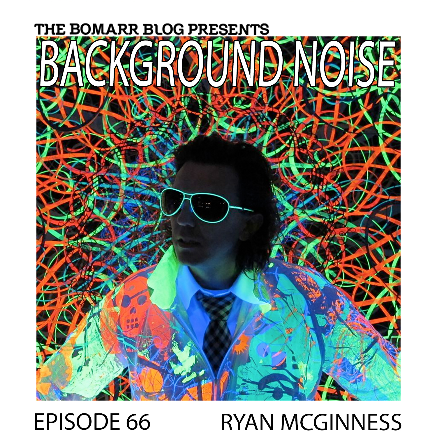 THE BACKGROUND NOISE PODCAST SERIES FOCUSES ON THE MUSIC THAT ARTISTS LISTEN TO WHEN THEY WORK, WHAT MUSIC INSPIRES THEM, OR JUST MUSIC THEY LIKE. THIS WEEK, IN EPISODE 66, THE FOCUS IS ON ARTIST RYAN MCGINNESS