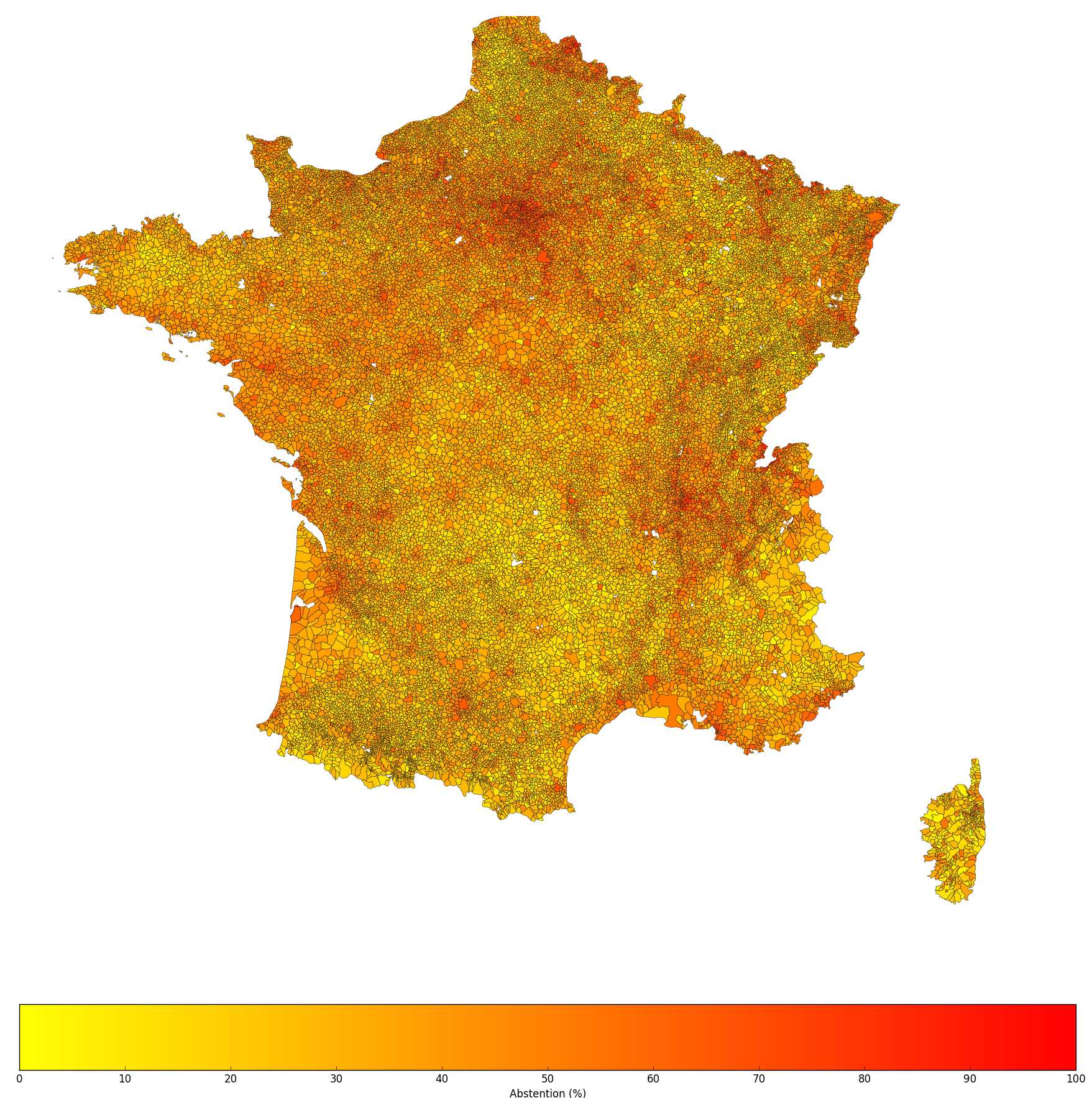 Heat map of the abstention rate for the 2008 mayoral elections in France, courtesy of  Snips / Alexandre Vallette