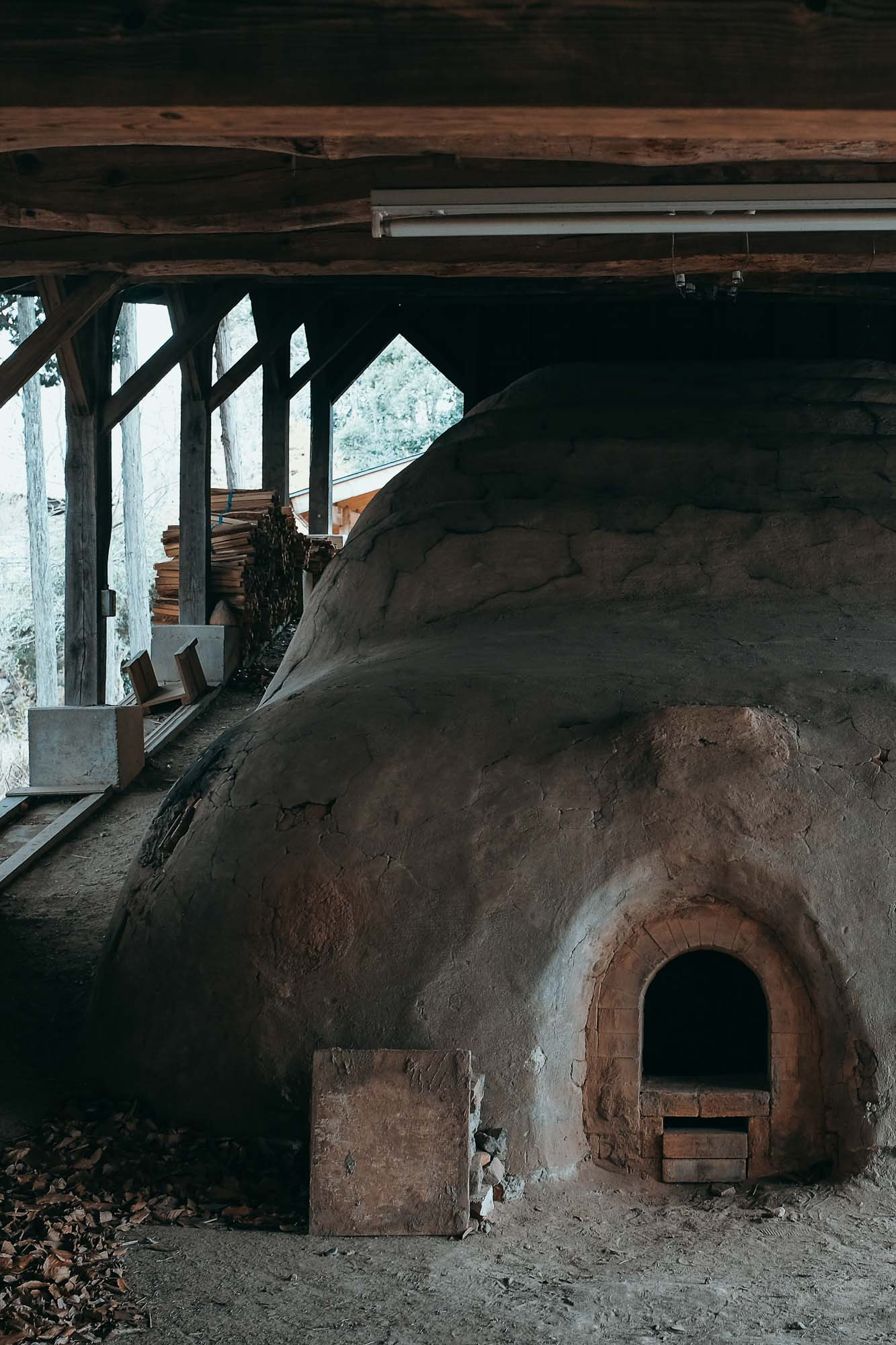 Hamada's personal climbing kiln, an ancient type of wood-fired kiln, often used for stonewares and porcelains.