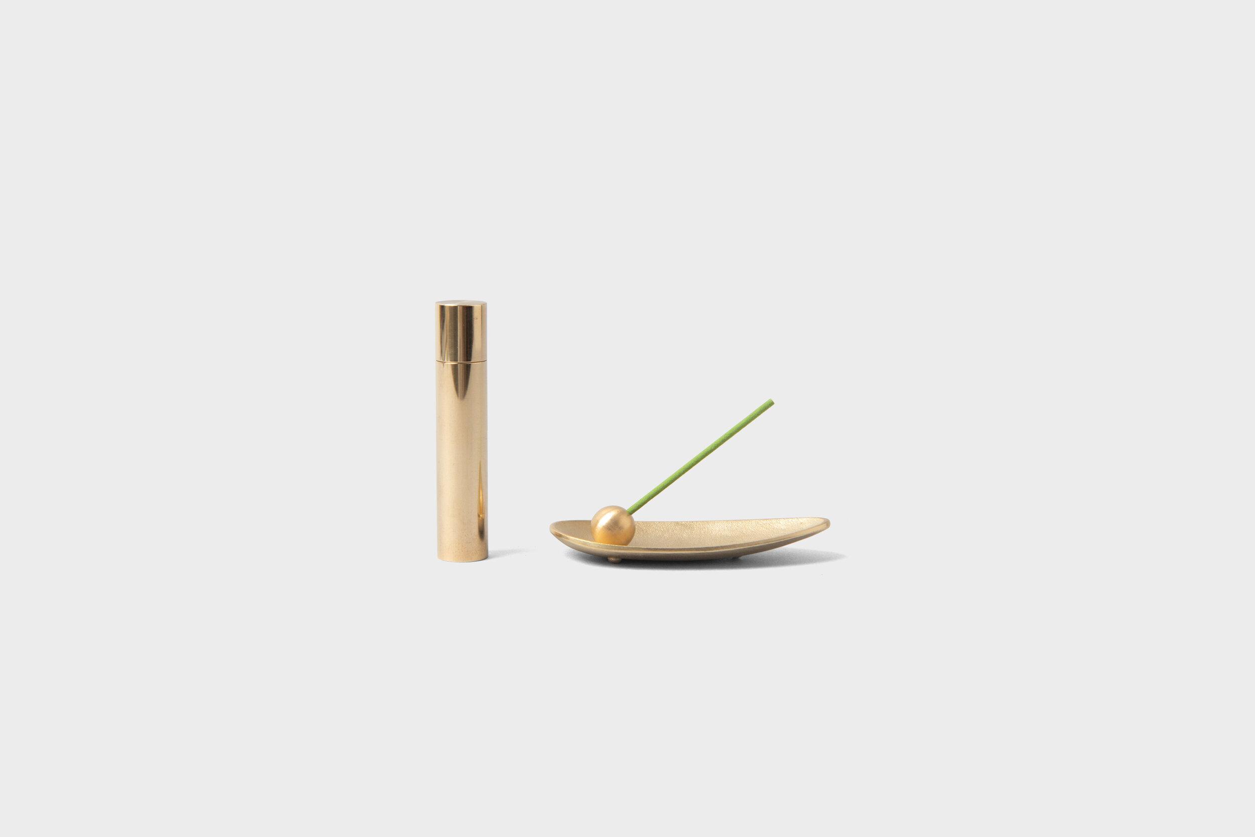 Brass Incense Burner Set Leaf Native Co Japanese Homeware