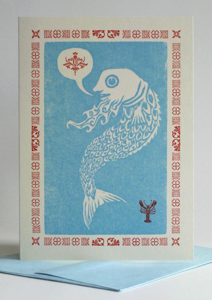 A1 Notecard: Fish with a Beard (blue)
