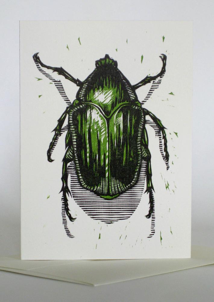 A1 Notecard: Green June Beetle