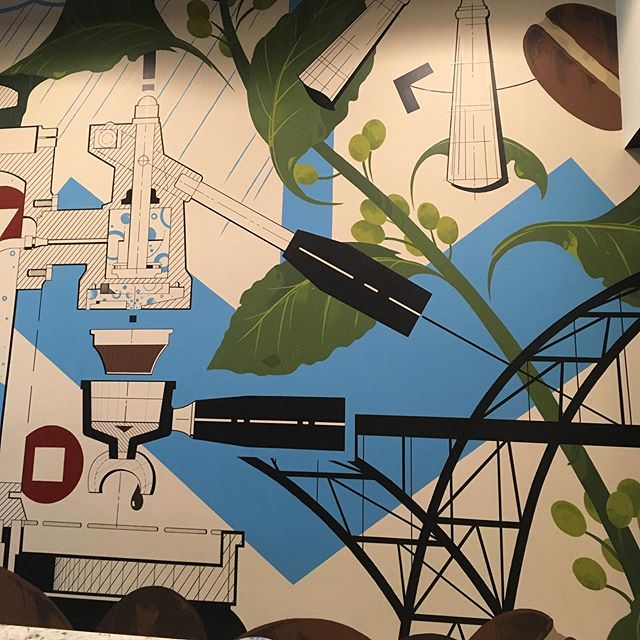 Coffee shop mural for my favorite client turned great friend @ardentlysk at her awesome @cafepontepdx in downtown Portland. Thank you for the fantastic opportunity and experience