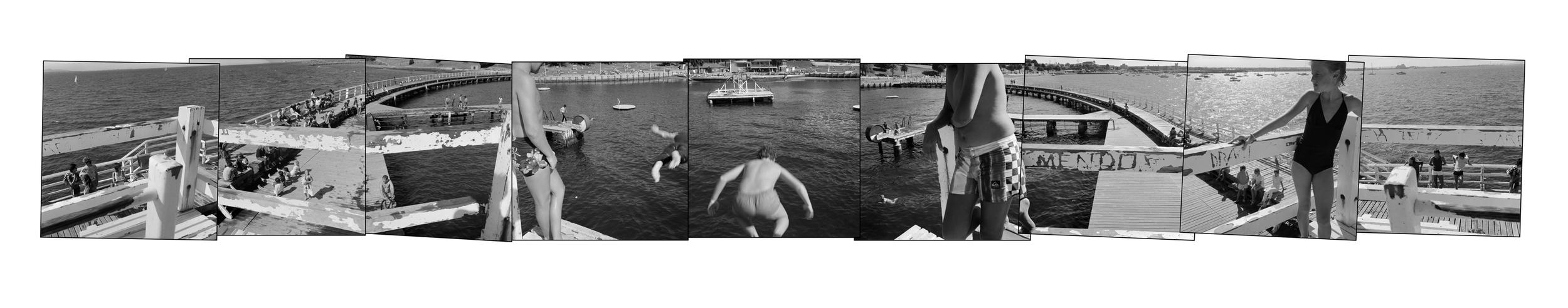 John O'Neil Eastern Beach (Somersaults) Photograph 61x300cms (unframed $2,750)