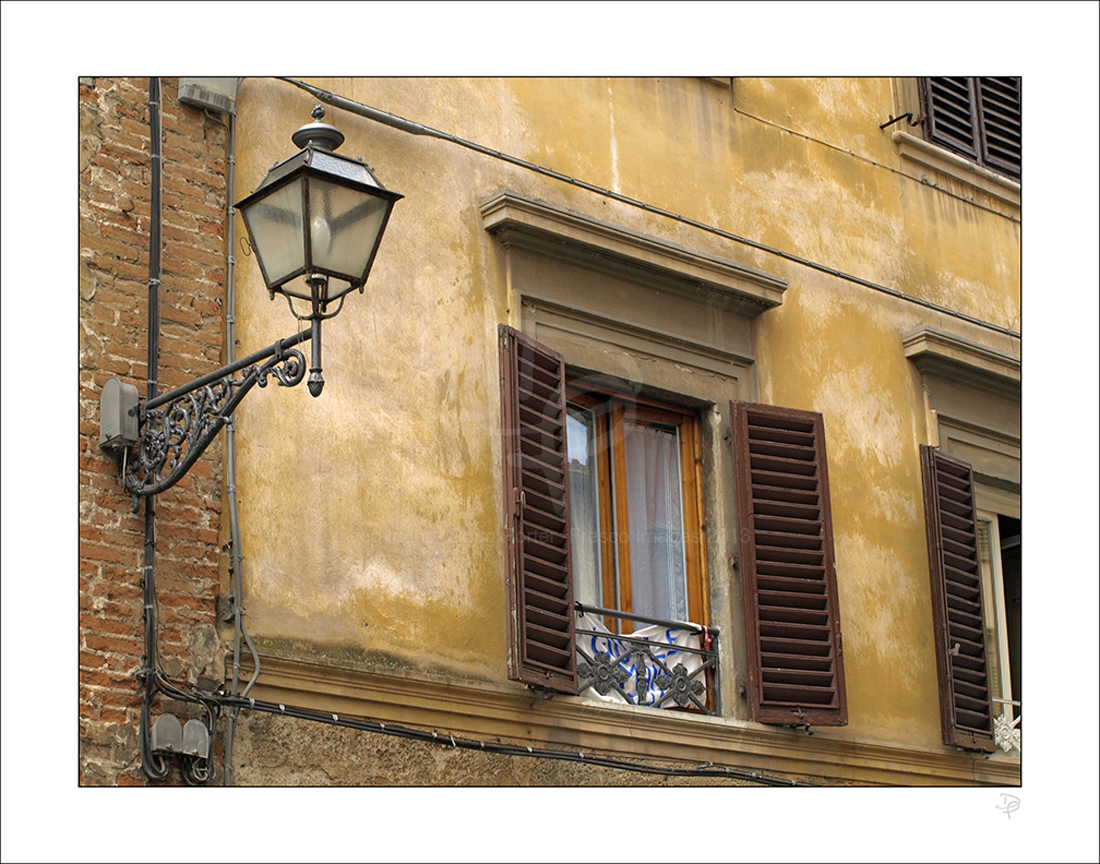 Lamp and shutters.