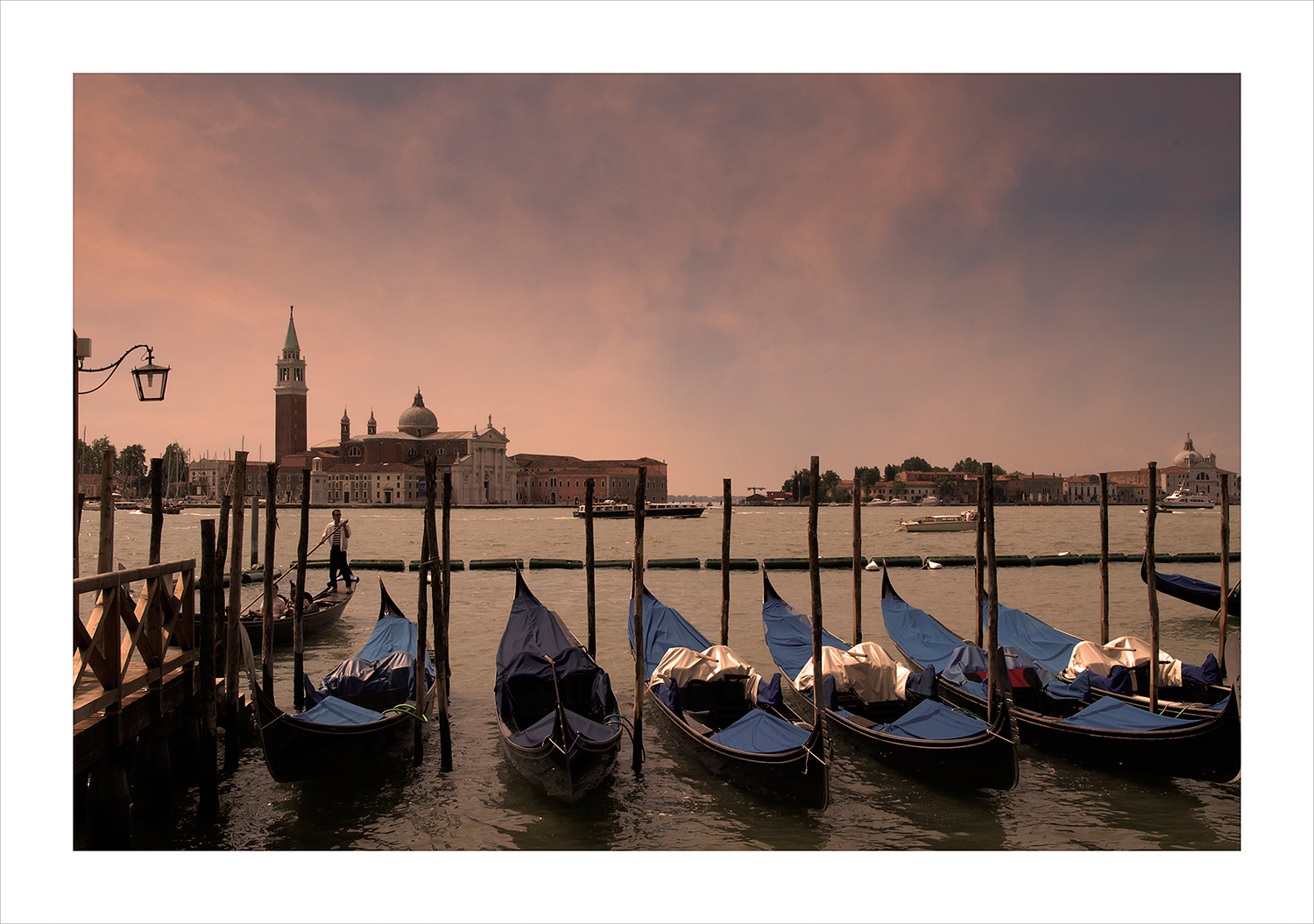 Gondolas at dusk, Venice