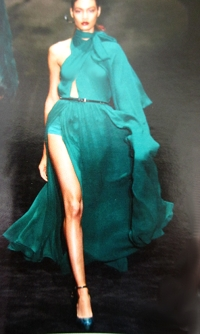 Emerald colored chiffon always a show stopper.