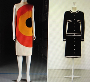 modern 70s dress: by Courrèges, dark suit: Lagerfeld for Chanel