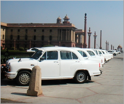 On the way to India Gate, Government House, the iconic Ambassador Grand cars.