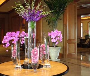 A display of orchids greeting the guests upon stepping into the palazzo.