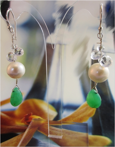 Twin palms are more fun, with Chrysoprase and pearls.