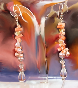 Pink Coral dangle with Citrine and Rock Crystal tear drops. Stunning.