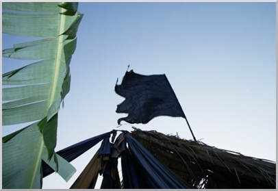 The flag high above our tent.
