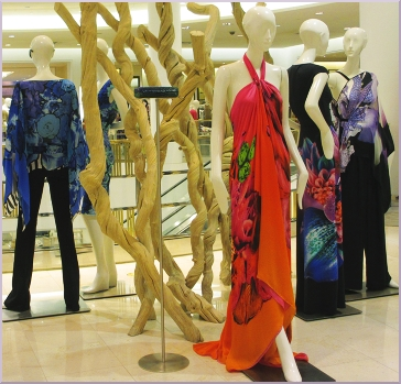 Creations for parties by Roberto Cavalli at Saks 5th Avenue El Paseo.