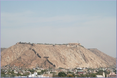 View of the East hills above Jaipur, Palace of the Winds