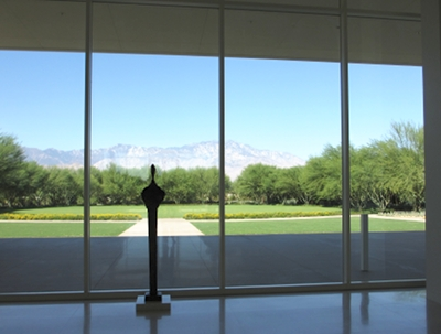 View out towards the gardens at the Visitor's Center.