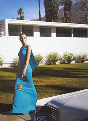 Sky blue party gown by Fendi at the W. Krisel Estates in South Palm Springs.     photo credit: see below