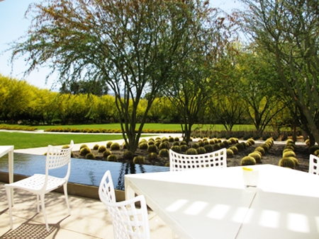 Sweeping views of the garden path at the Café.