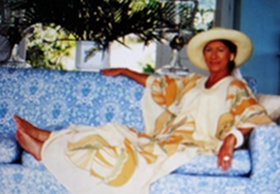 Princess Margaret in her home on the island Mustique in the 1970s.