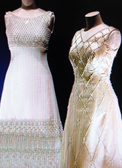 Gowns from the 1970s for Queen Elizabeth II with pearls and sparkles.