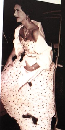 Princess Margaret in a Summer fun gown, very playful with bows.