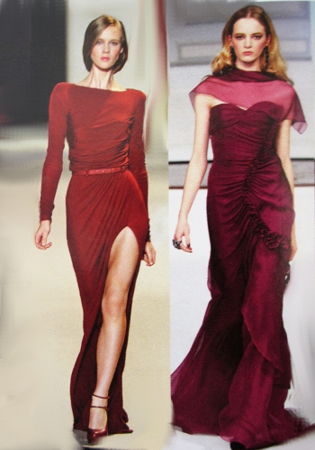 Berry colors and deep red colors for Fall 2011 in chiffon and silk.