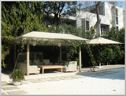 Take a moment to rest in the interior courtyard at the Diplomat Hotel.
